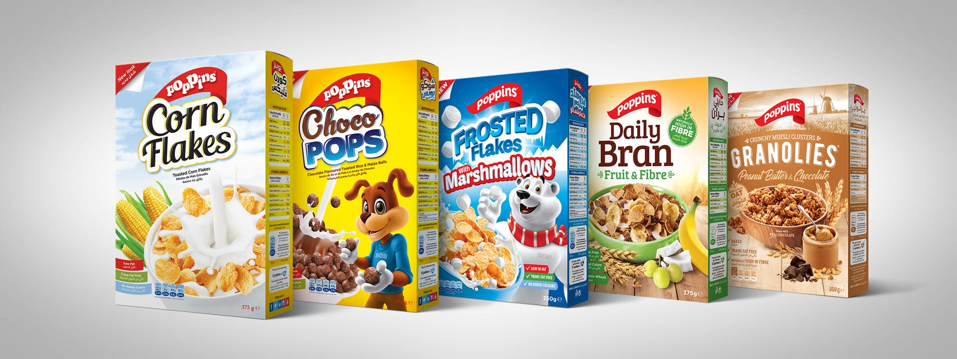 Poppins Product lineup Corn flakes Choco pops Froster Flakes with Marshmallows Granolies Daily Bran